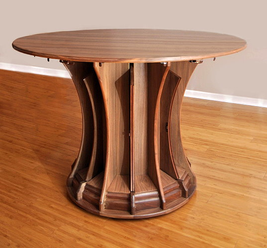 Table with leave in pedestal